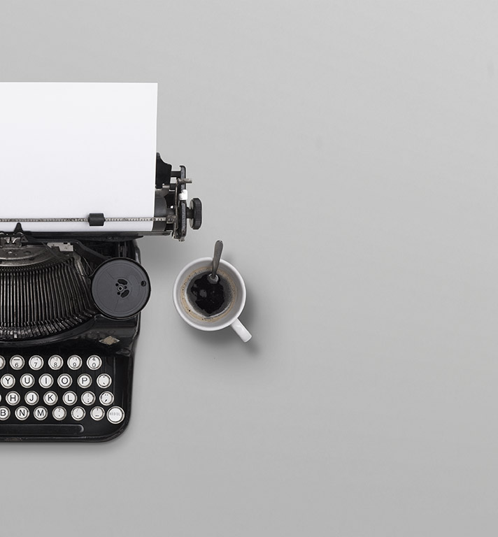 Typewriter header with copy space